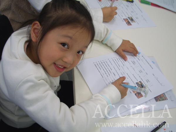 Edy acing her quiz at the beginning of last week's P2 class.