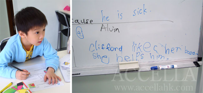 Alvin transcribing his answer from the board.