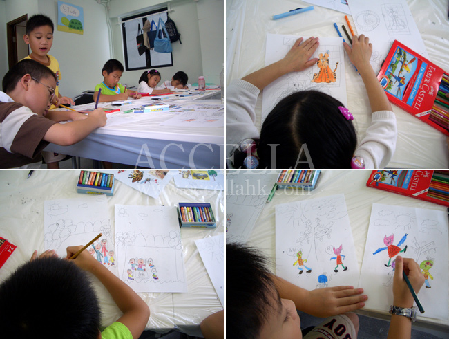 Students in one of our Little Writers classes hard at work on pages for their storybooks.