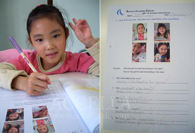 JasmineL and her completed superlative comparison worksheet.