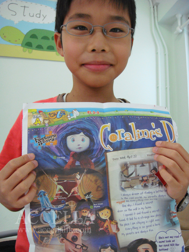 MartinC displaying a newspaper feature on the film adaptation of Coraline, including the name of the Wybie character.
