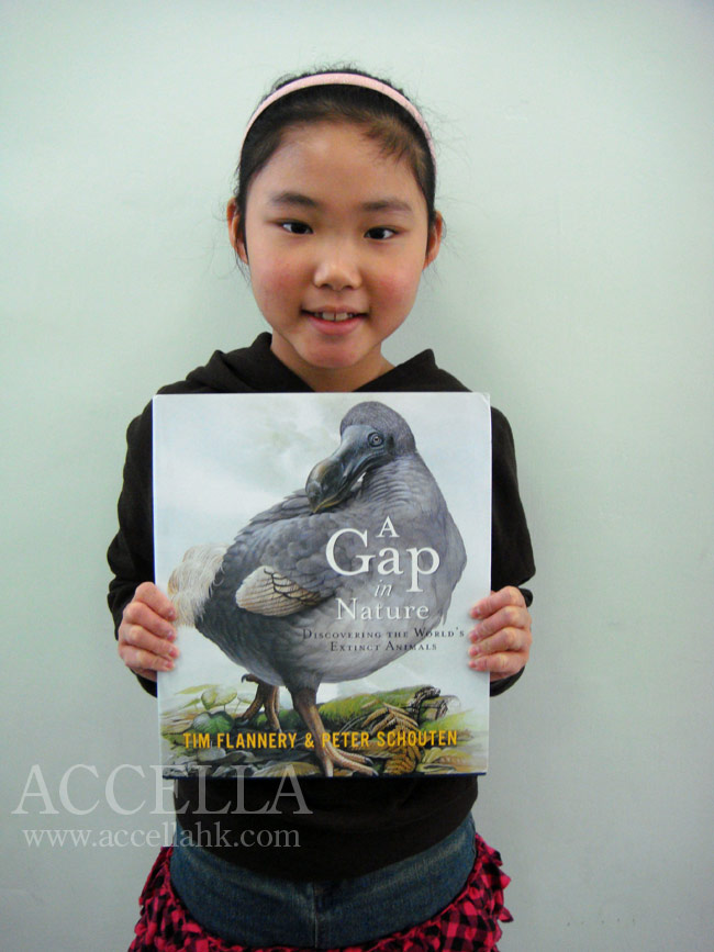 JasmineL holding her new copy of 'A Gap in Nature'.