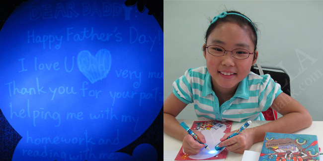 JasmineL composing her invisible Father's Day message and, at left, what she wrote.
