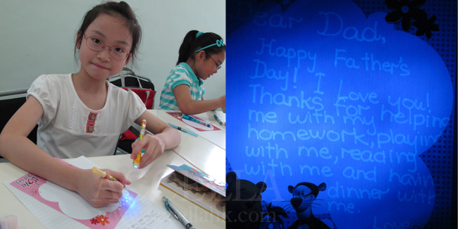 LocaniW composing her invisible Father's Day message and, at right, what she wrote.