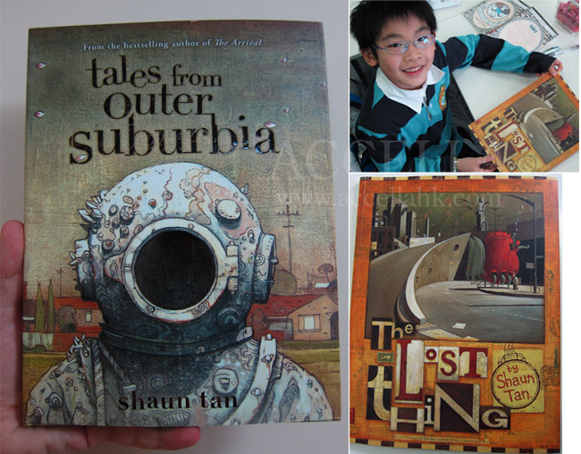 Photomontage of, clockwise from left, the cover of 'Tales From Outer Suburbia', KeithL holding his copy of 'The Lost Thing', and a larger image of the cover of that book.