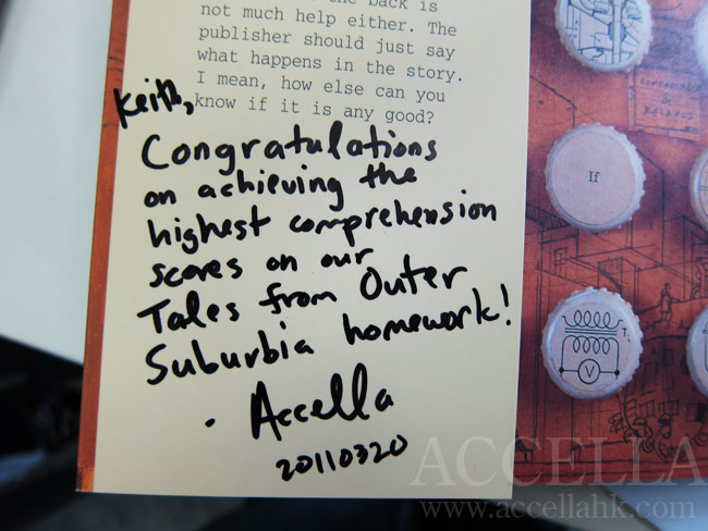 Congratulatory message to KeithL inscribed on the front inside flap of his copy of 'The Lost Thing'.