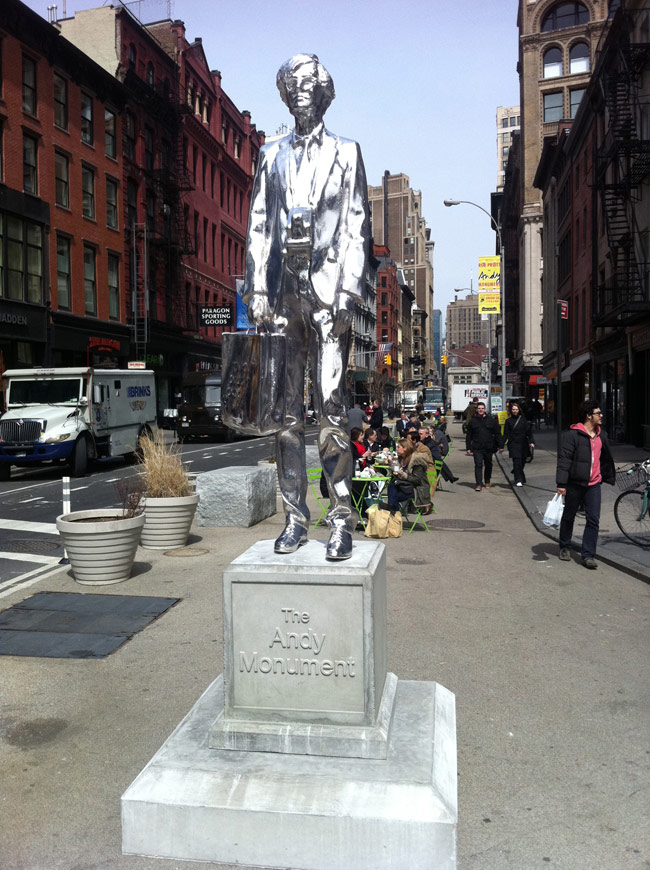 Chromed statue of Andy Warhol in New York's Union Square.  Photo by Rex Sorgatz.